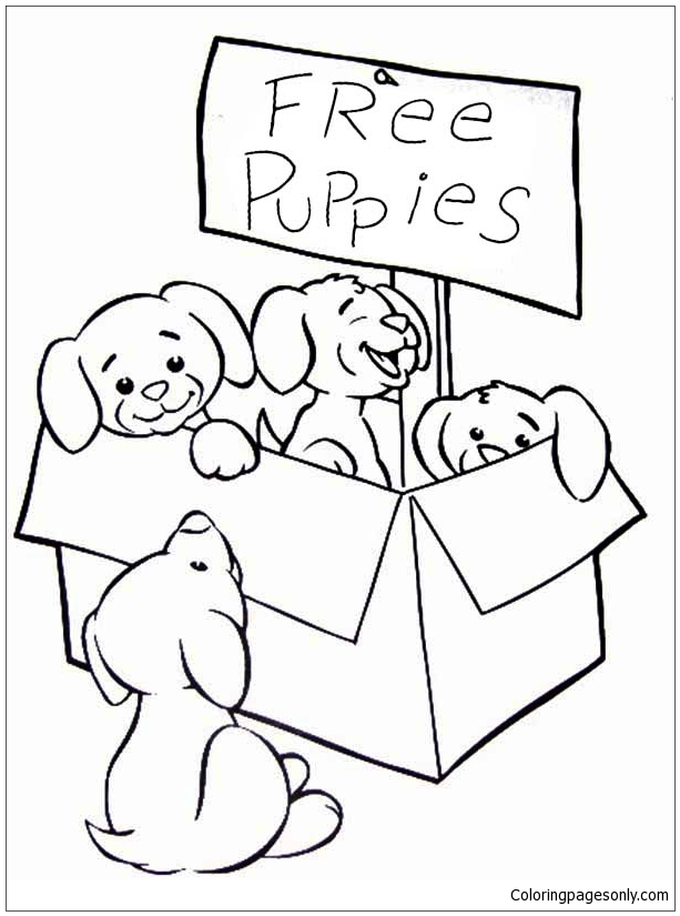 Cute Puppies Coloring Page Free Coloring Pages Online