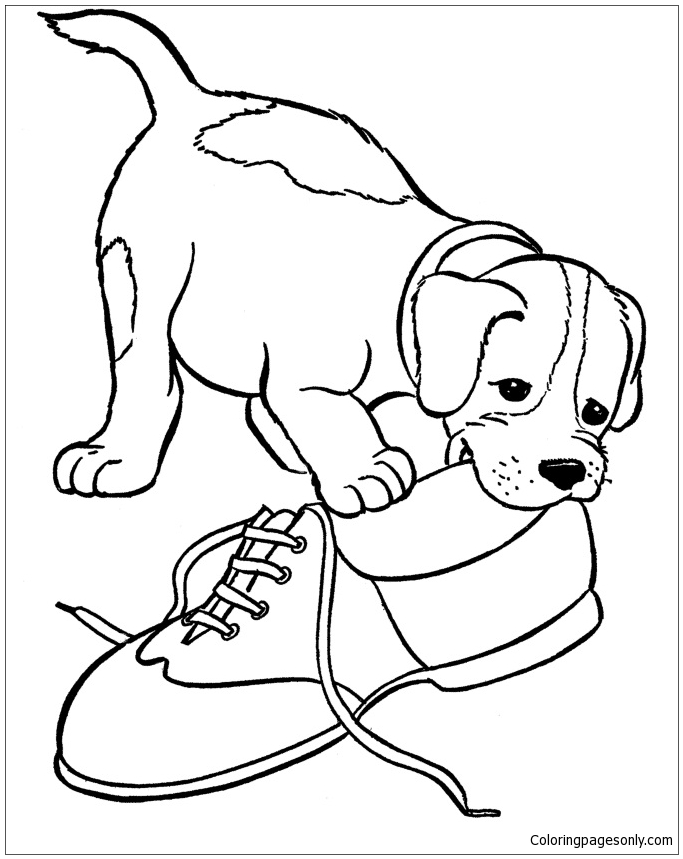 Puppy on the Lawn in 2020 | Puppy coloring pages, Free coloring ... | 859x683
