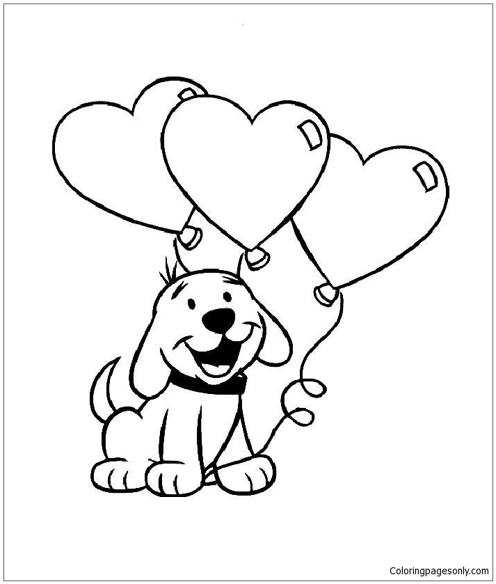 Cute Puppy With Heart  Coloring Page