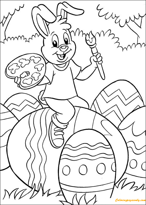 Cute Rabbit Paint Easter Egg Coloring Page Free Coloring