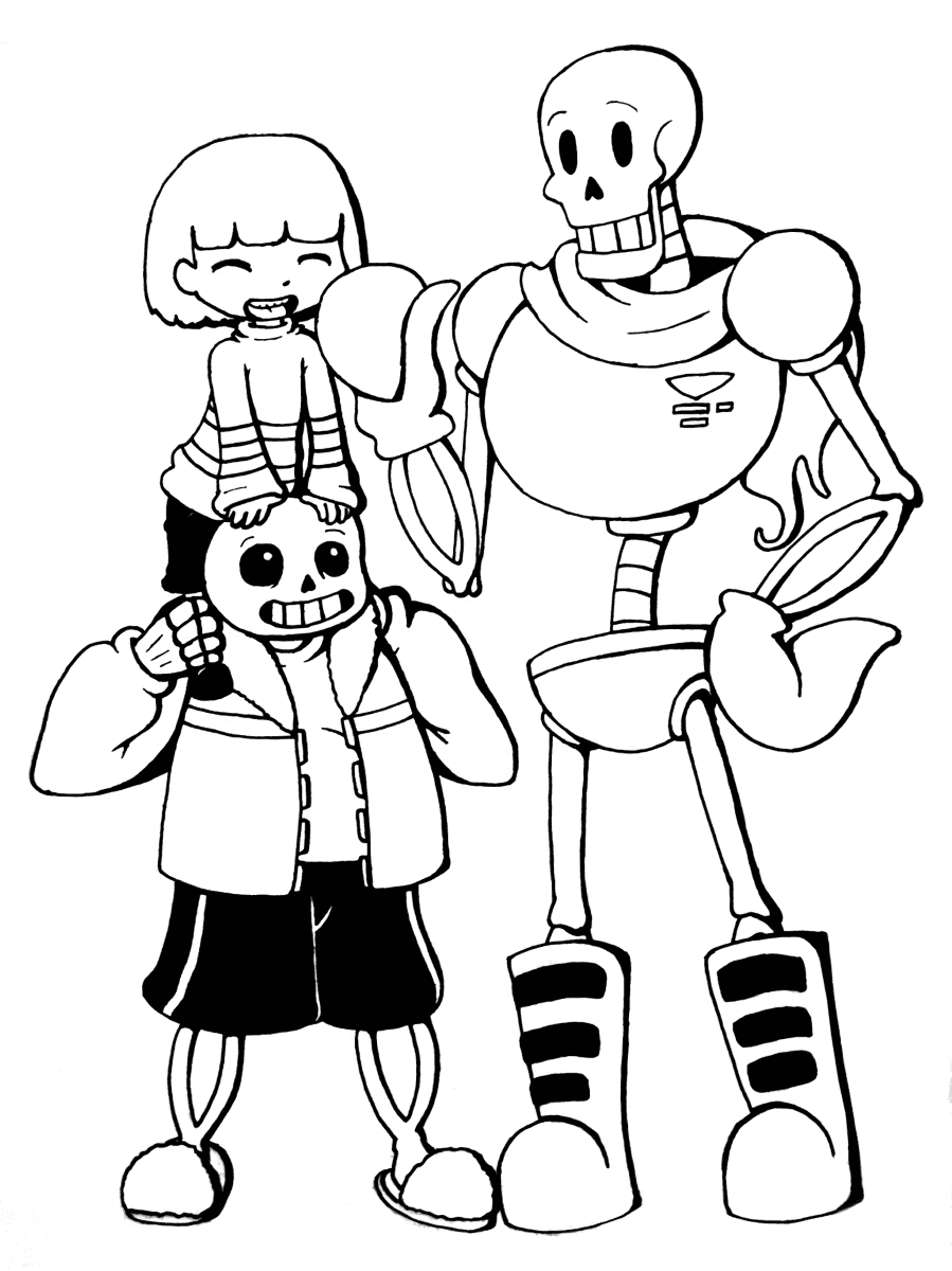 Three Cute Sans Coloring Page
