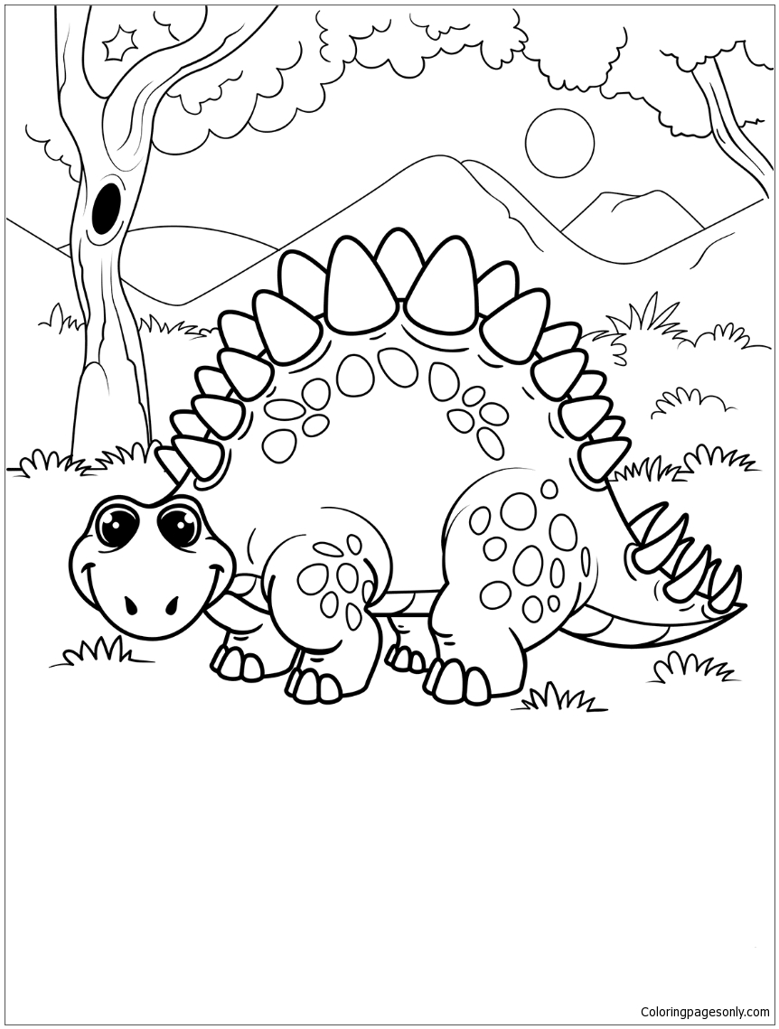 Cute Stegosaurus Coloring Page - Free Coloring Pages Online