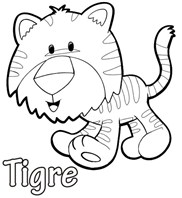 Cute Tigre Animal Coloring Page