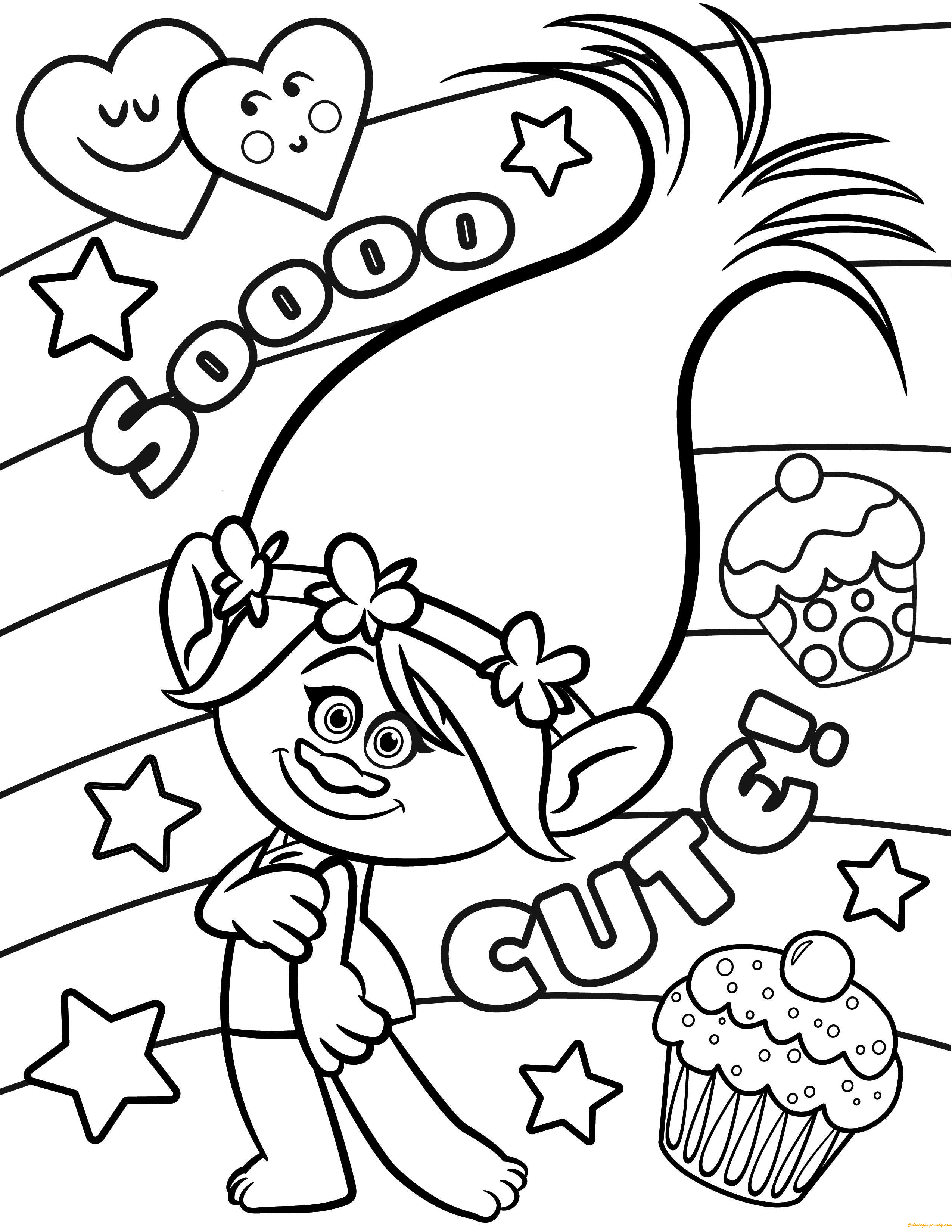 Cute Trolls Coloring Page Free