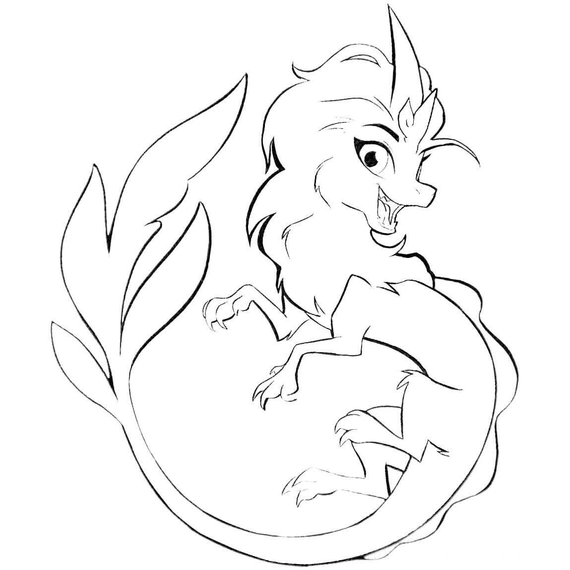 Cute Water Dragon Sisu Coloring Page