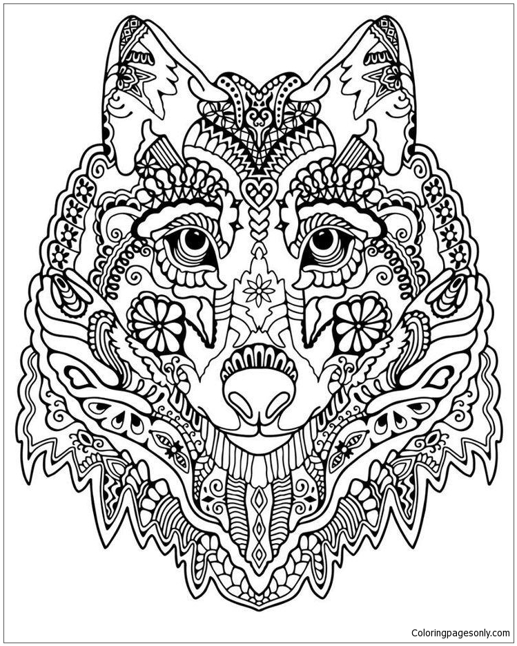 Cute Wolf Adult Mandala Coloring Page - Free Coloring Pages Online