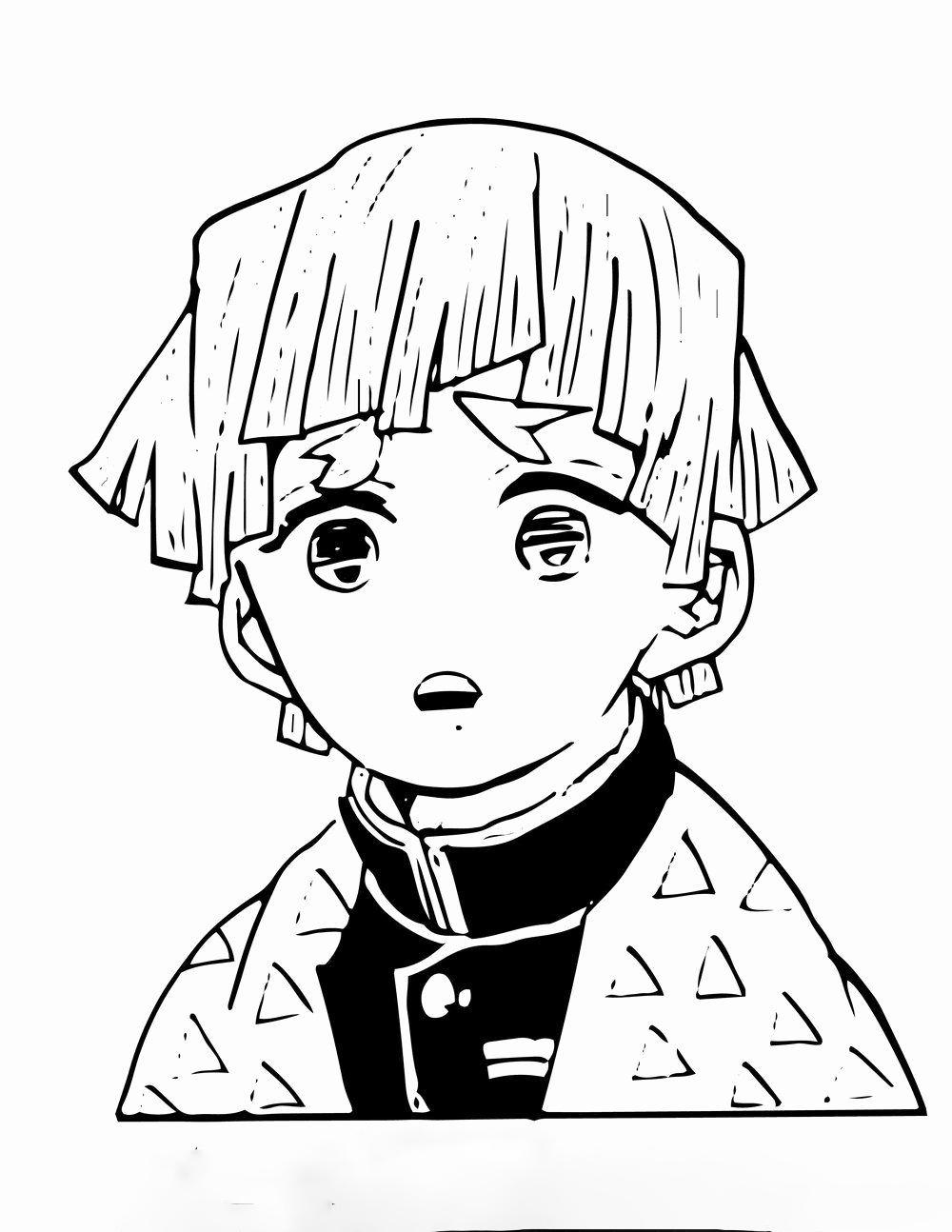 Cute Zenitsu  Coloring Page