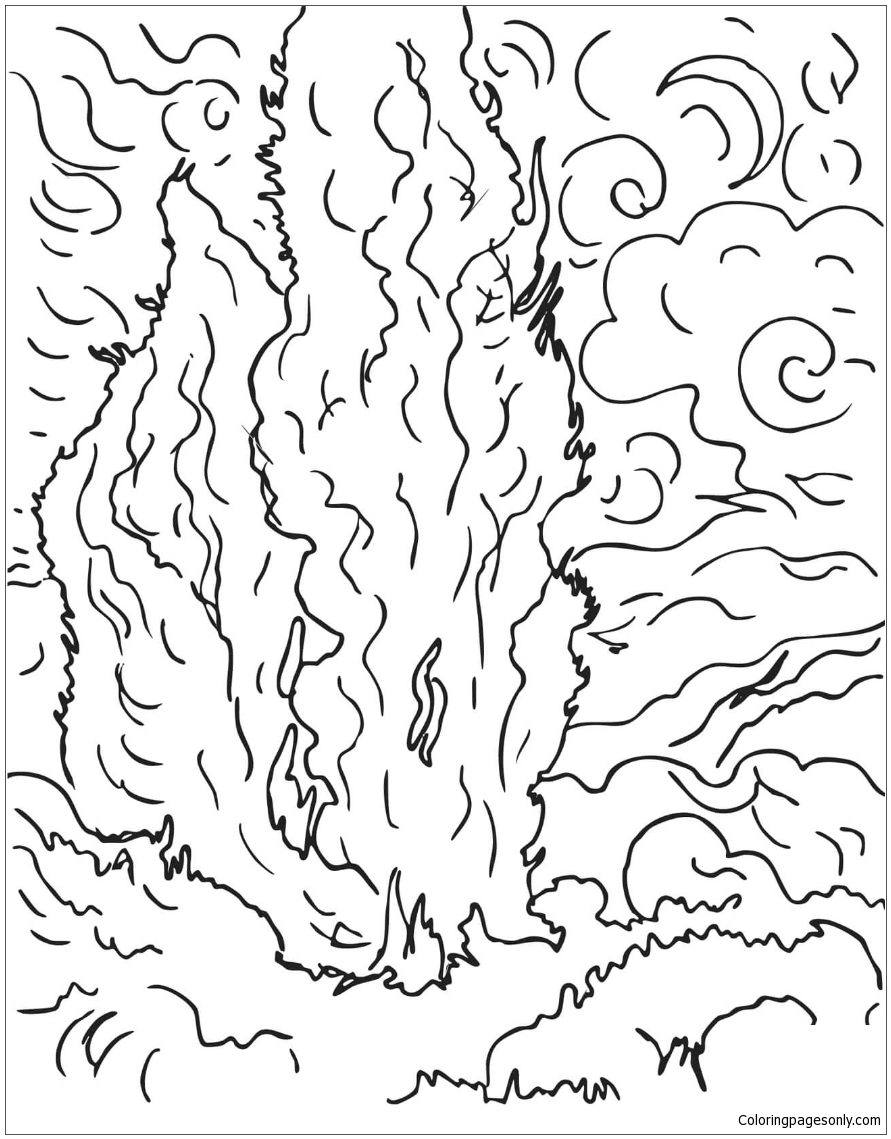 Cypresses By Vincent Van Gogh Coloring Page Free