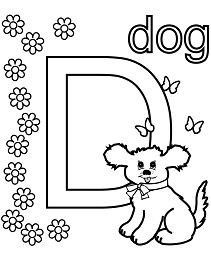 D is for Dog Coloring Page