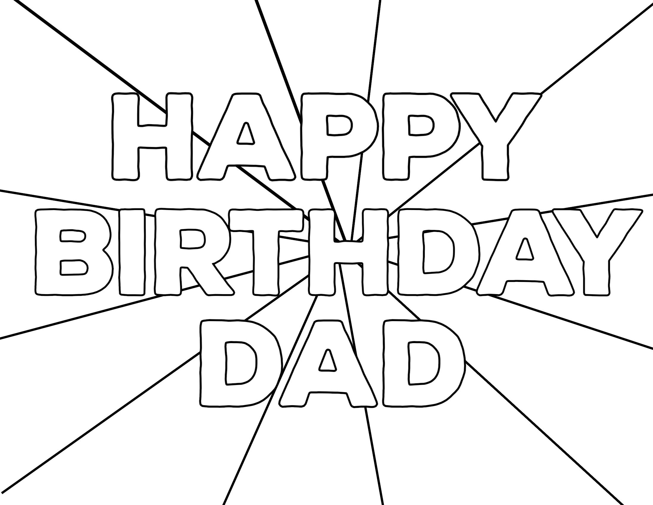 Dad birthday Coloring Page