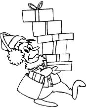 Dad Carrying Presents Coloring Page