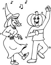 Dancing At Halloween Party Coloring Page