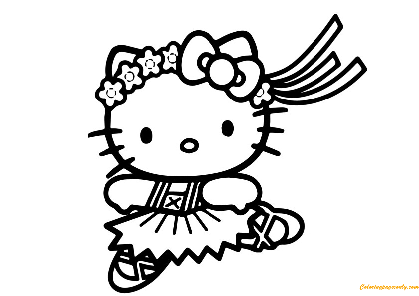 Dancing With Hello Kitty Coloring Page