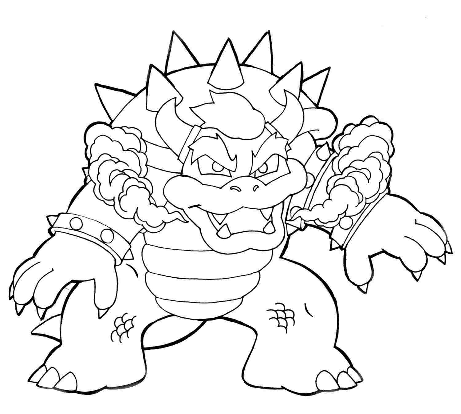 Dangerous Bowser From Super Mario Bros Coloring Page
