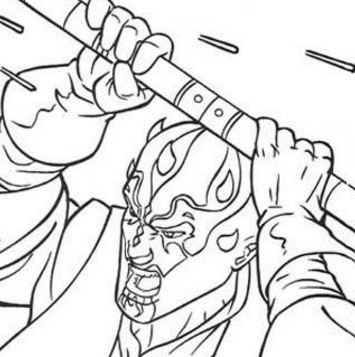 Darth Maul With A Laser Sword Coloring Page