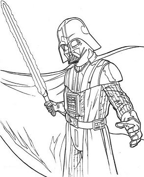 Darth Vader And Laser Sword Coloring Page