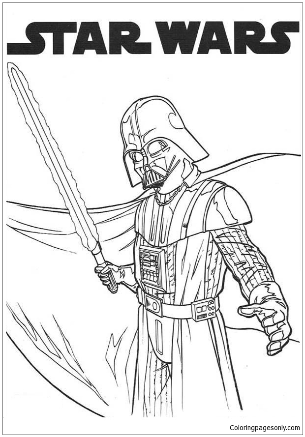 Darth Vader And Laser Sword Coloring Page Free Coloring