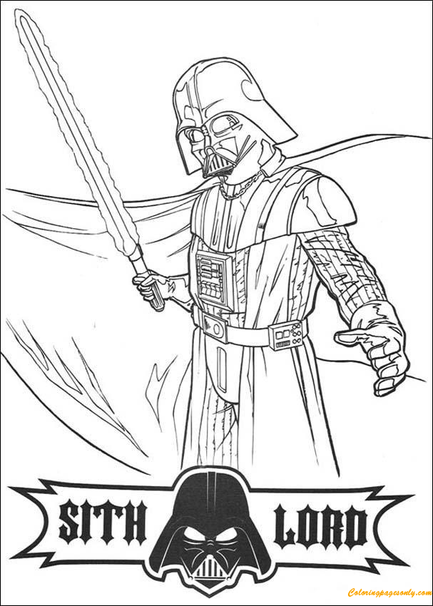 Darth Vader With A Laser Sword Coloring Pages