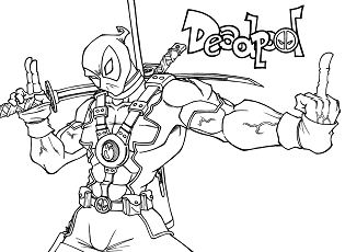 Deadpool shows the finger Coloring Page