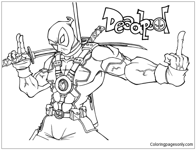 Lego Deadpool 2 Coloring Page