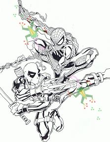 Deadpool and Spider-Man 1 Coloring Page
