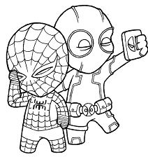 Deadpool And Spider-Man Coloring Page