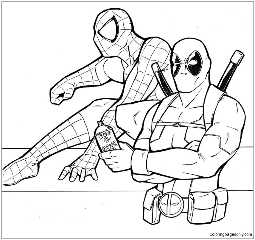 Deadpool Coloring Pages: Deadpool And Spiderman Coloring Page