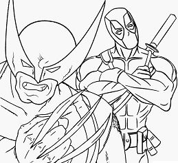 Deadpool and Wolverine Coloring Page