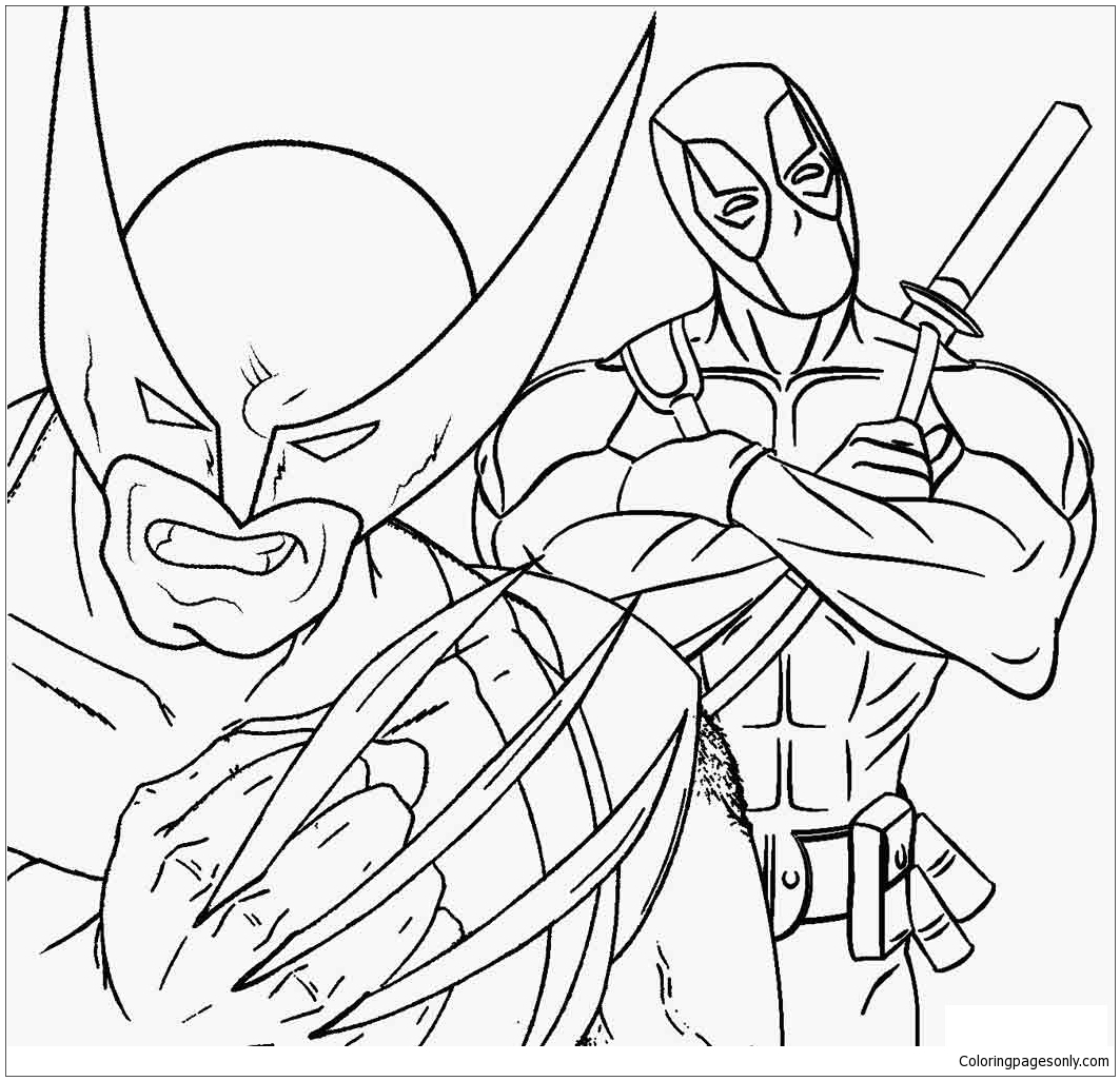 Deadpool And Wolverine Coloring Page Free Coloring Pages Online