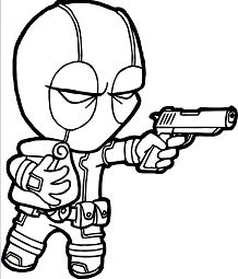 Deadpool Chibi Coloring Page