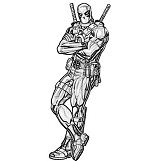 Deadpool Drawing Coloring Page