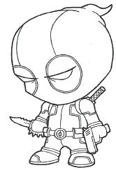 Chibi Deadpool Is Ready Coloring Page