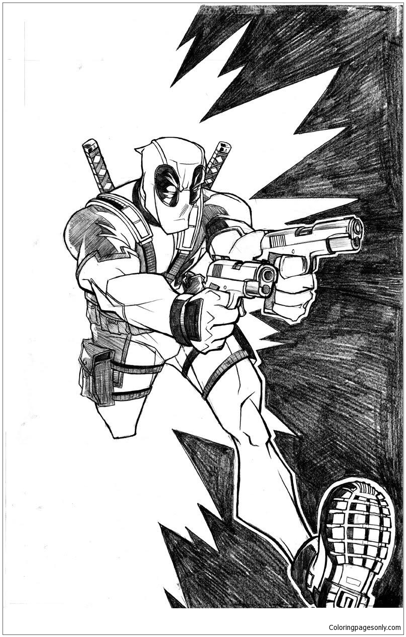 Deadpool Run Coloring Page Free Coloring Pages Online
