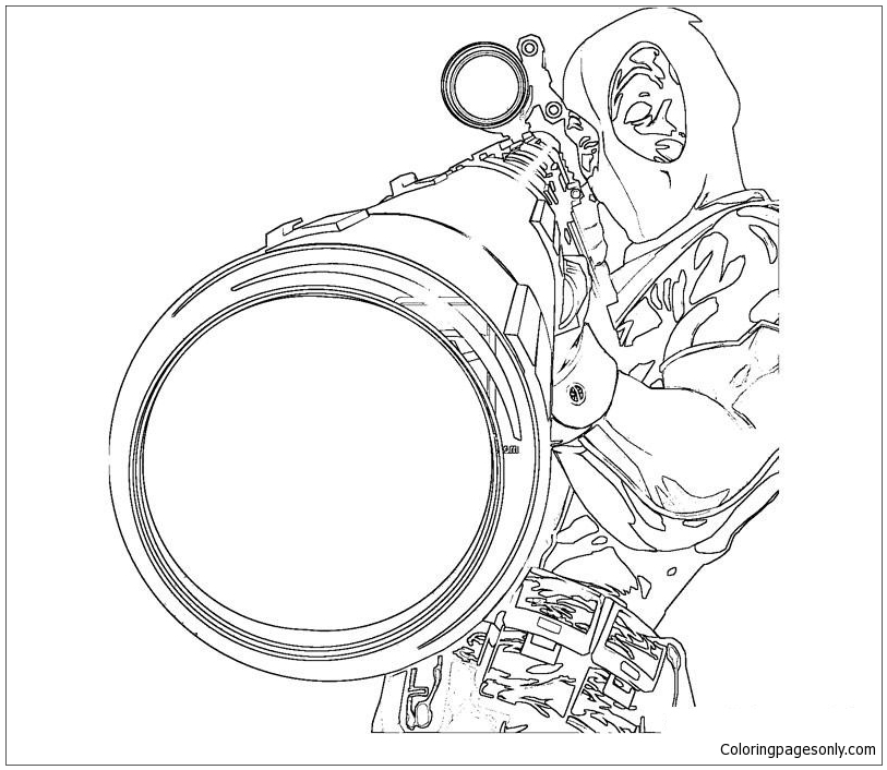 Deadpool Sniper Coloring Page Free Coloring Pages Online