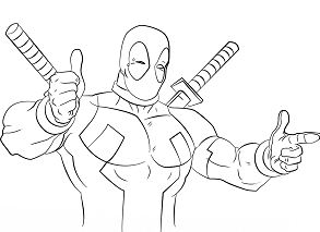 Deadpool Thumb s Up Coloring Page