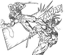 Deadpool Vs Wolverine Coloring Page