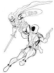 Deadpool vs. Taskmaster commission Coloring Page