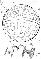 Death Star And The Fighters Coloring Page