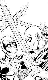 Deathstroke Vs. Deadpool Coloring Page