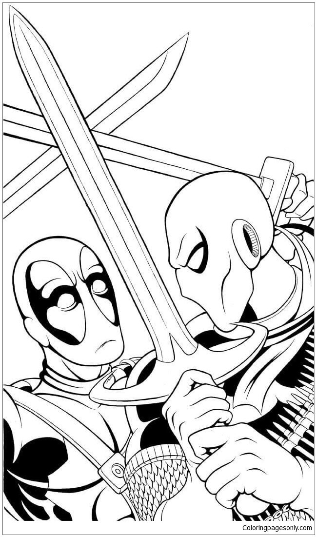 Deathstroke Vs Deadpool Coloring Page Free Coloring Pages