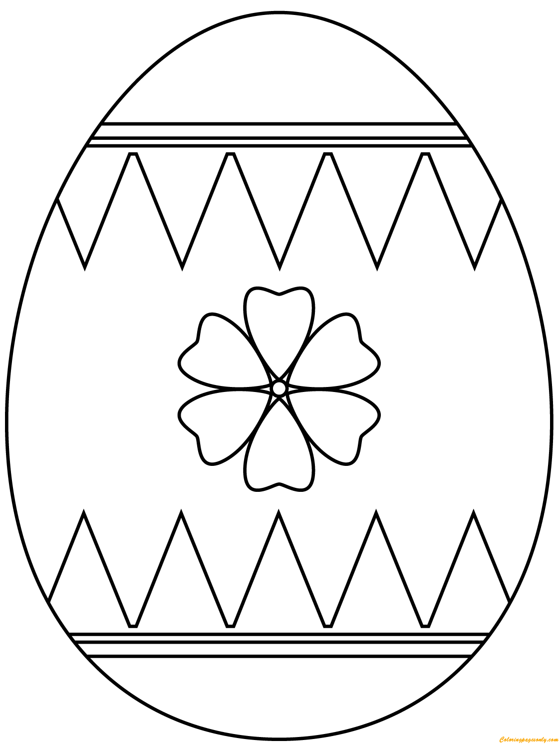 Decorating Flower Easter Eggs Coloring Page Free