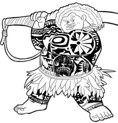 Demi God Maui From Moana Disney Coloring Page