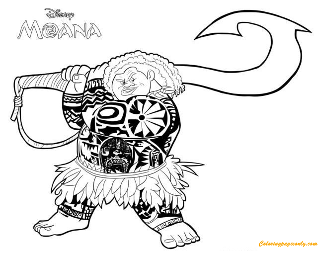 Demi God Maui From Moana Disney Coloring Page Free