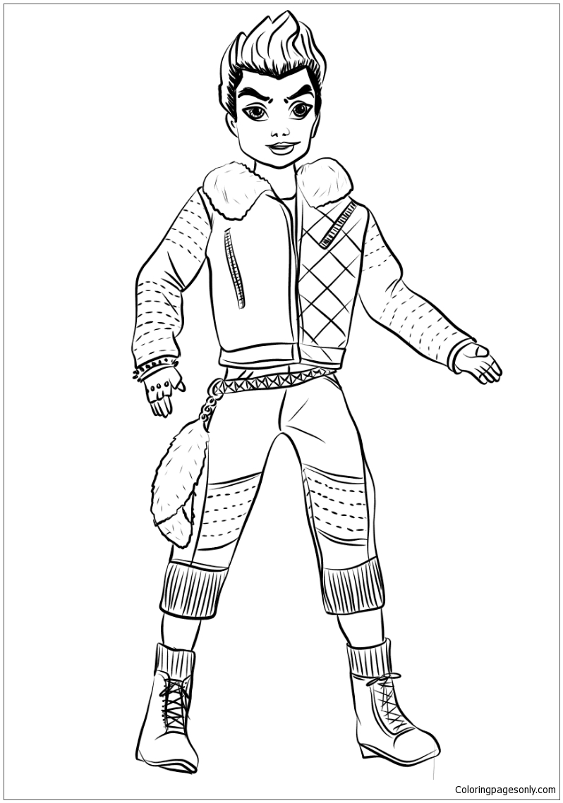 Descendants Wicked World Carlos Coloring Page Free