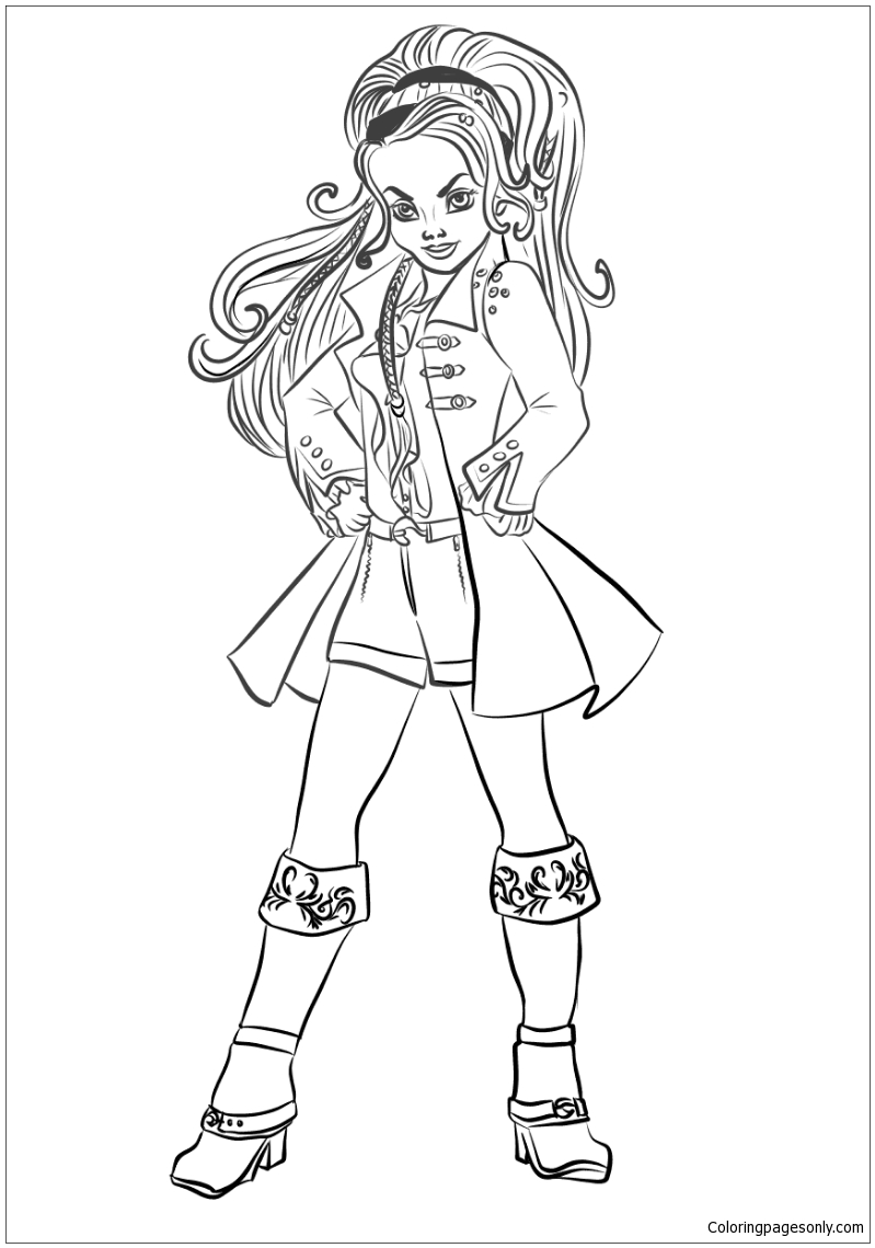 Descendants Wicked World Cj Hook Coloring Page Free