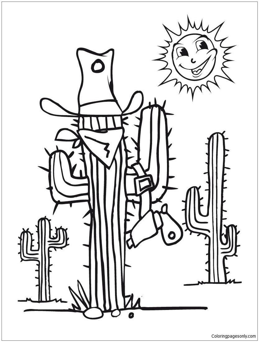 Desert Cactus Coloring Page - Free Coloring Pages Online