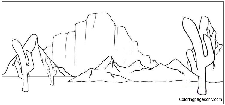 desert mountain coloring page