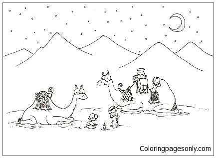 Desert Night Coloring Page