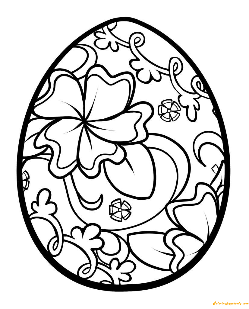 Design Flower Easter Eggs Coloring Page
