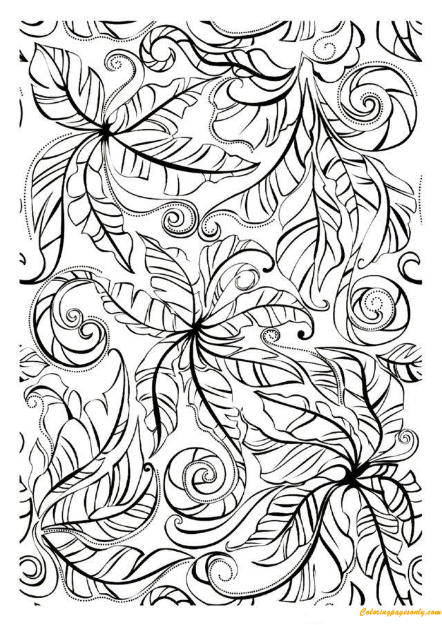 Designed Leaves Coloring Page